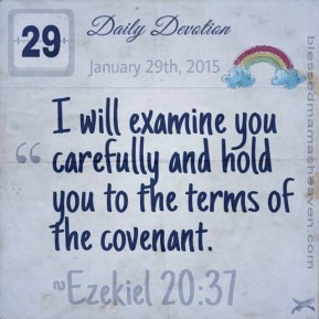 Daily Devotion • January 29th • Ezekiel 20:37 ~I will examine you carefully and hold you to the terms of the covenant.