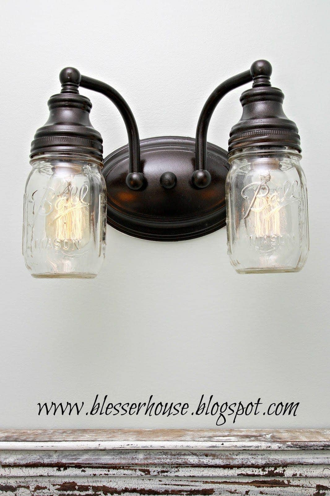 Bathroom Light Fixtures Diy Mason Jar Vanity Light Bless Er House