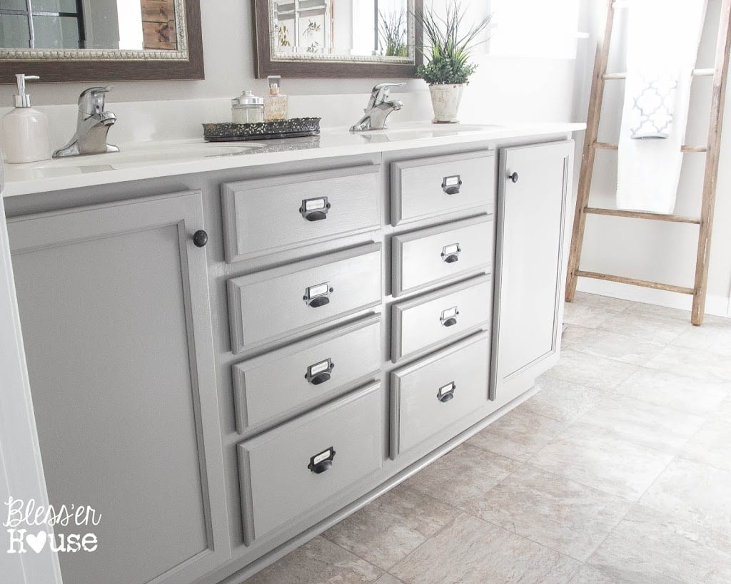 Painted Bathroom Cabinets Master Bathroom Makeover Painted Card Catalog Cabinets Bless Er