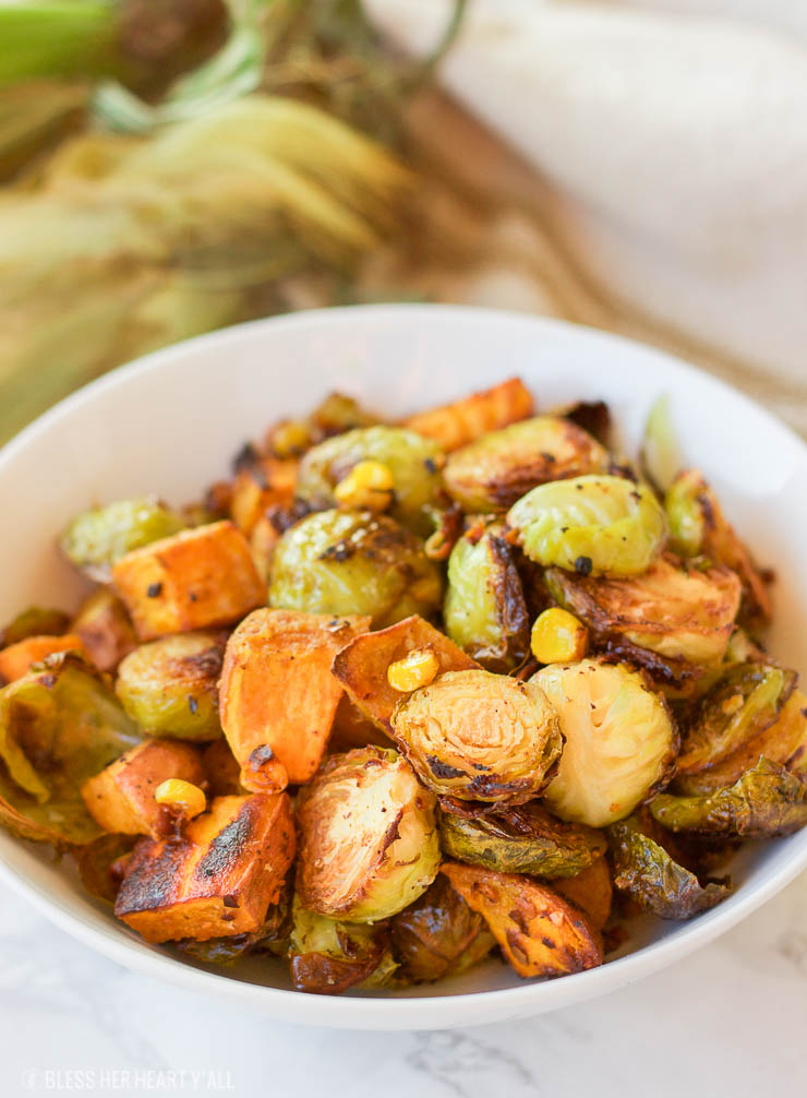 Roasted Sweet Potato Brussel Sprout Hash Healthy Simple