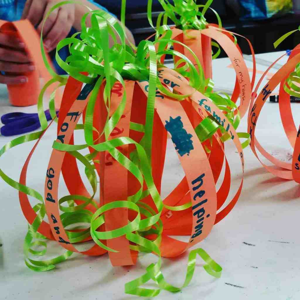 Gratitude pumpkins at childrenschurch happy times