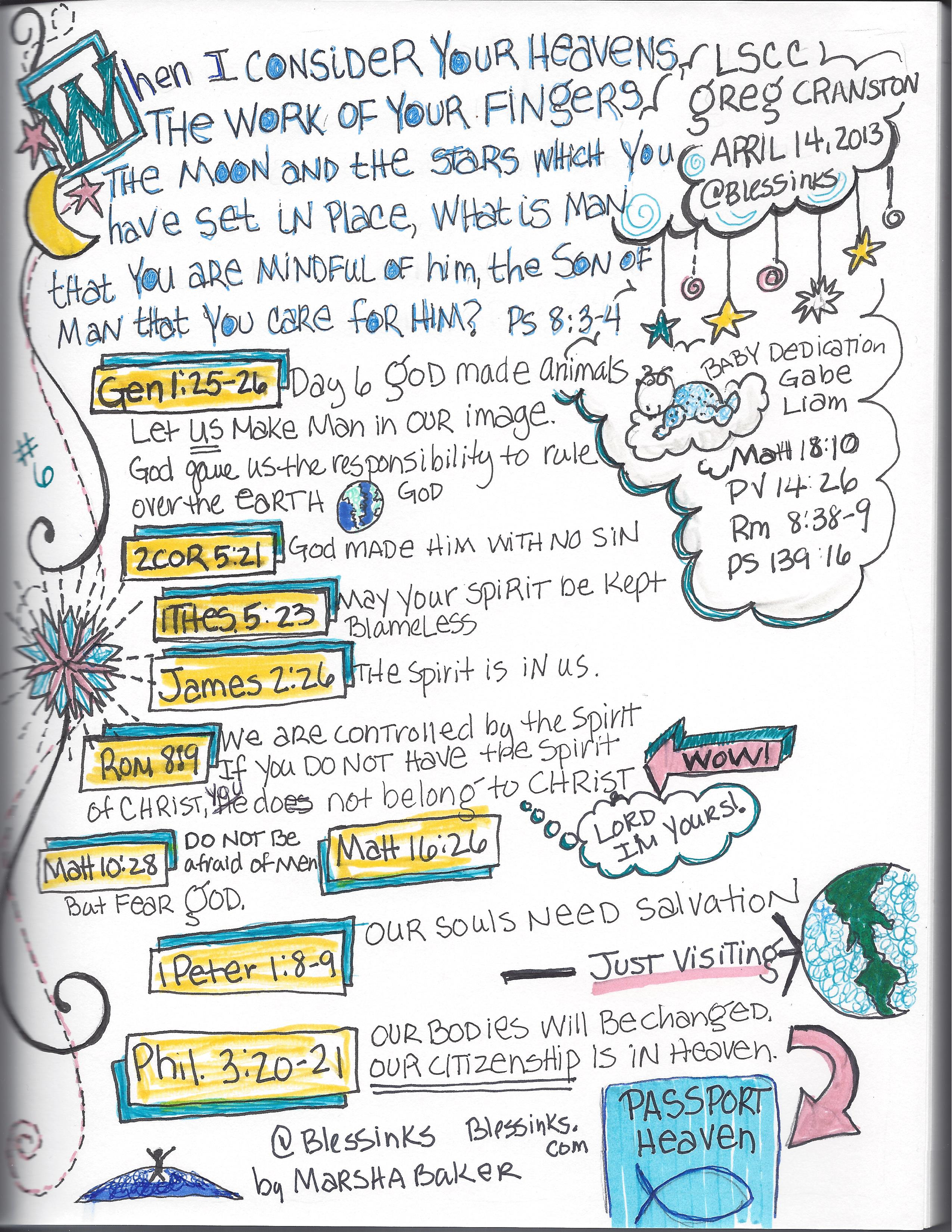 Sermon Sketchnotes : PS 8:3-4 Who is Man that You would care for him?