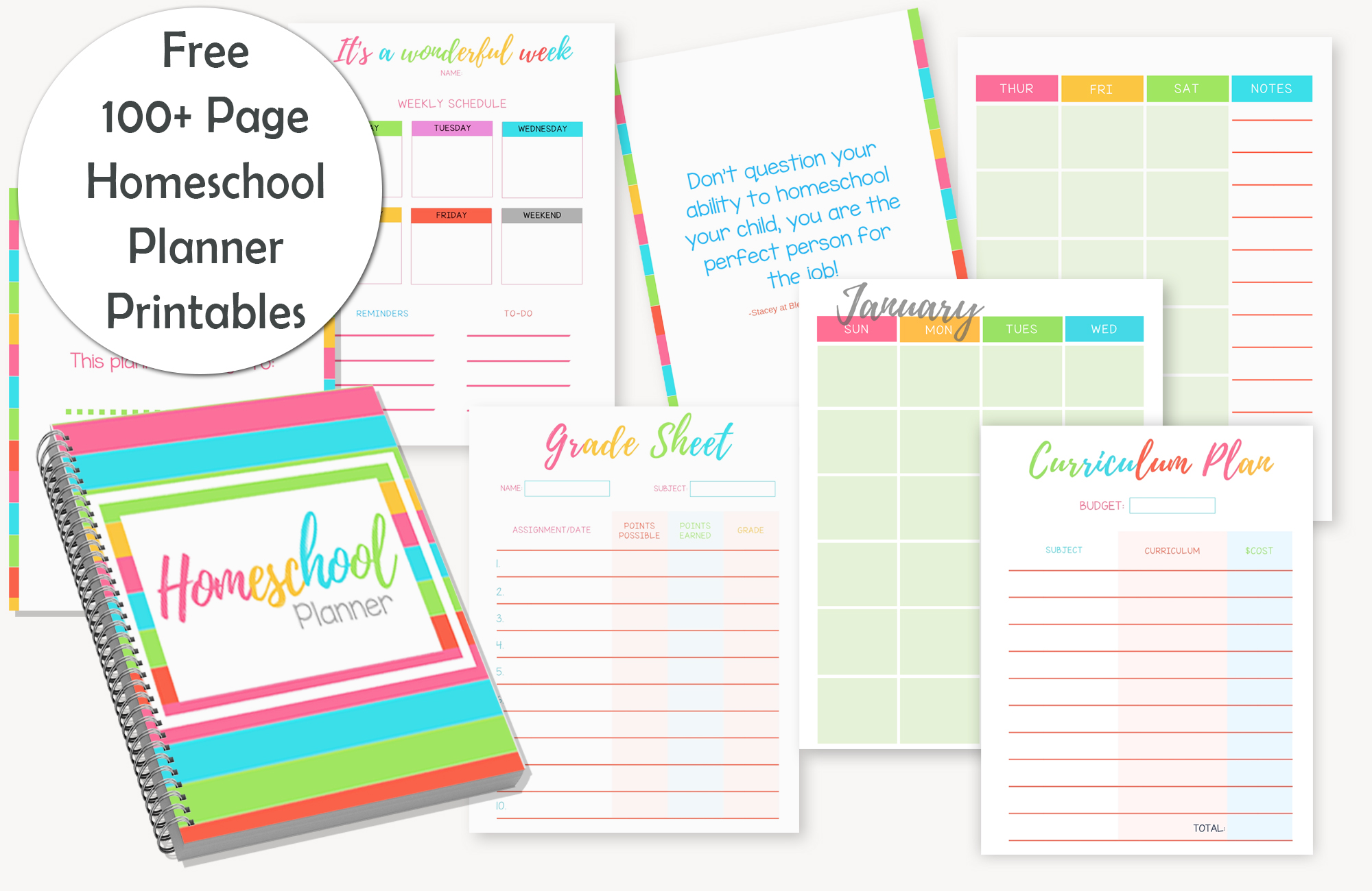 image relating to Printable Homeschool Planners called Most straightforward Homeschool Planner - Totally free PRINTABLE Bless my Price range