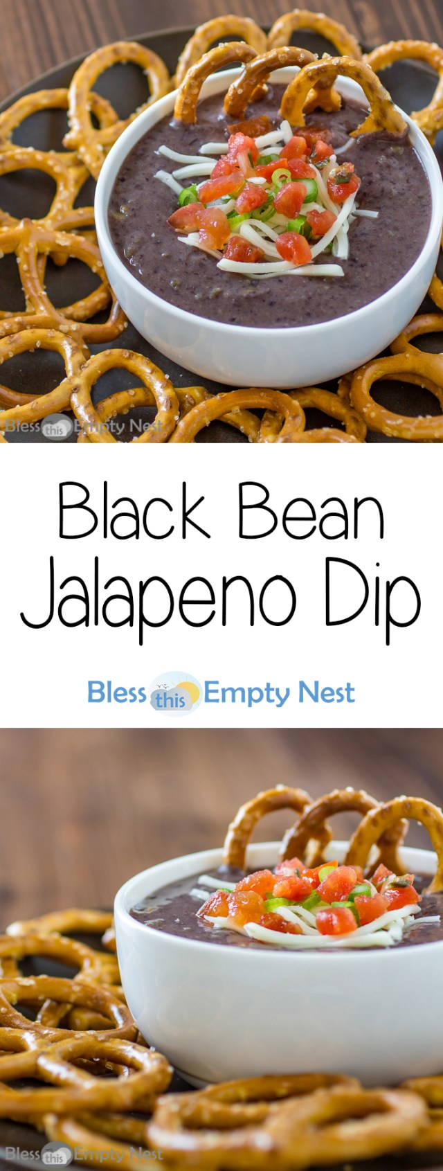 Black Bean Jalapeno Dip | Bless This Empty Nest - All of the flavor and none of the calories of your typical bean dip recipe! This is one of my favorite healthy recipes!