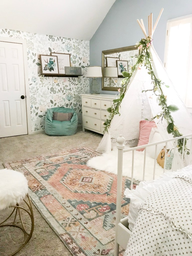 girl's room with vintage style rug