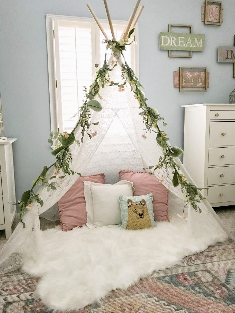 cozy tepee in young girl's room
