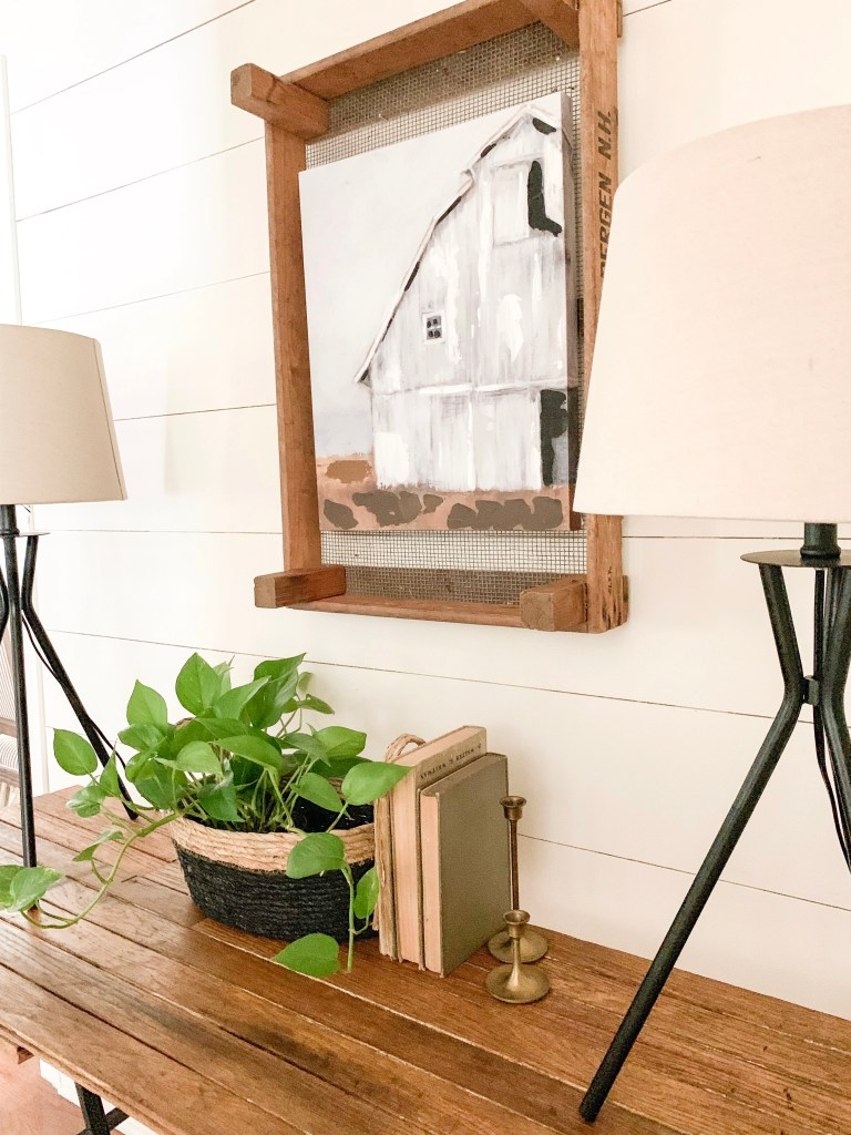 farmhouse modern black table lamps on console table
