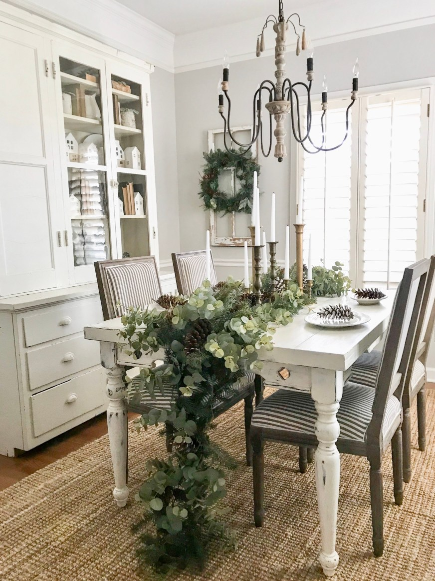dining room table and garland