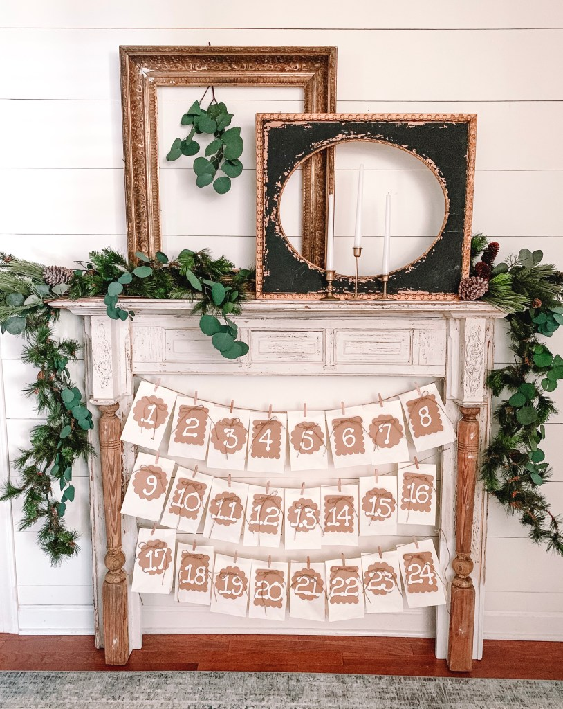 diy paper bag banners on mantel
