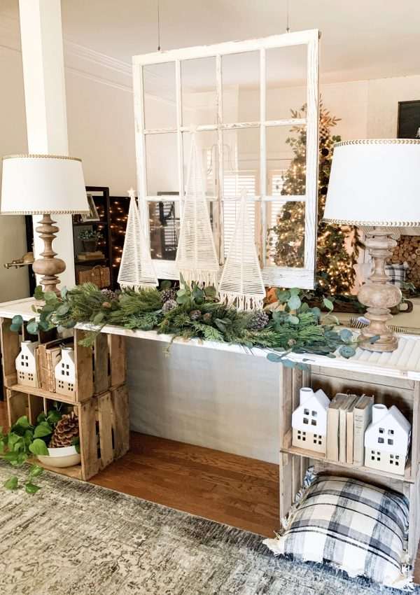 Farmhouse Style Christmas Console Table