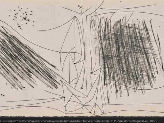 Pablo Picasso Composition with a Woman (Composition avec une femme) (double page plate) from Un Poème dans chaque livre 1956
