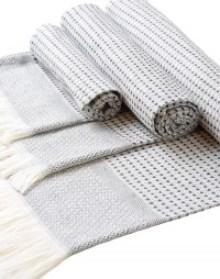 lot de 3 serviettes Hammam Noir, 100 % coton, douces, absorbantes et résistantes, pour les mains, les cheveux et le corps, du linge de maison créé et fabriqué en France, dans le Tarn (81), et testé sur les 5 continents