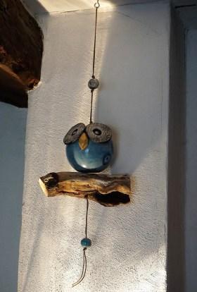 chouette décorative en céramique, ton bleu, modèle unique