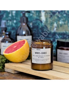 Bougie cire de soja et mèche en bois Wabi-Sabi