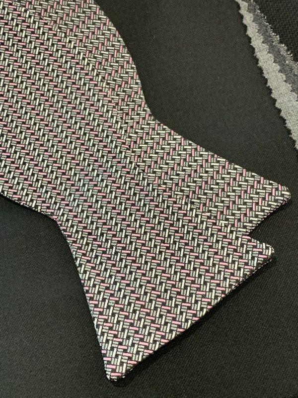 Black White Pink Geometric Self Bow Tie
