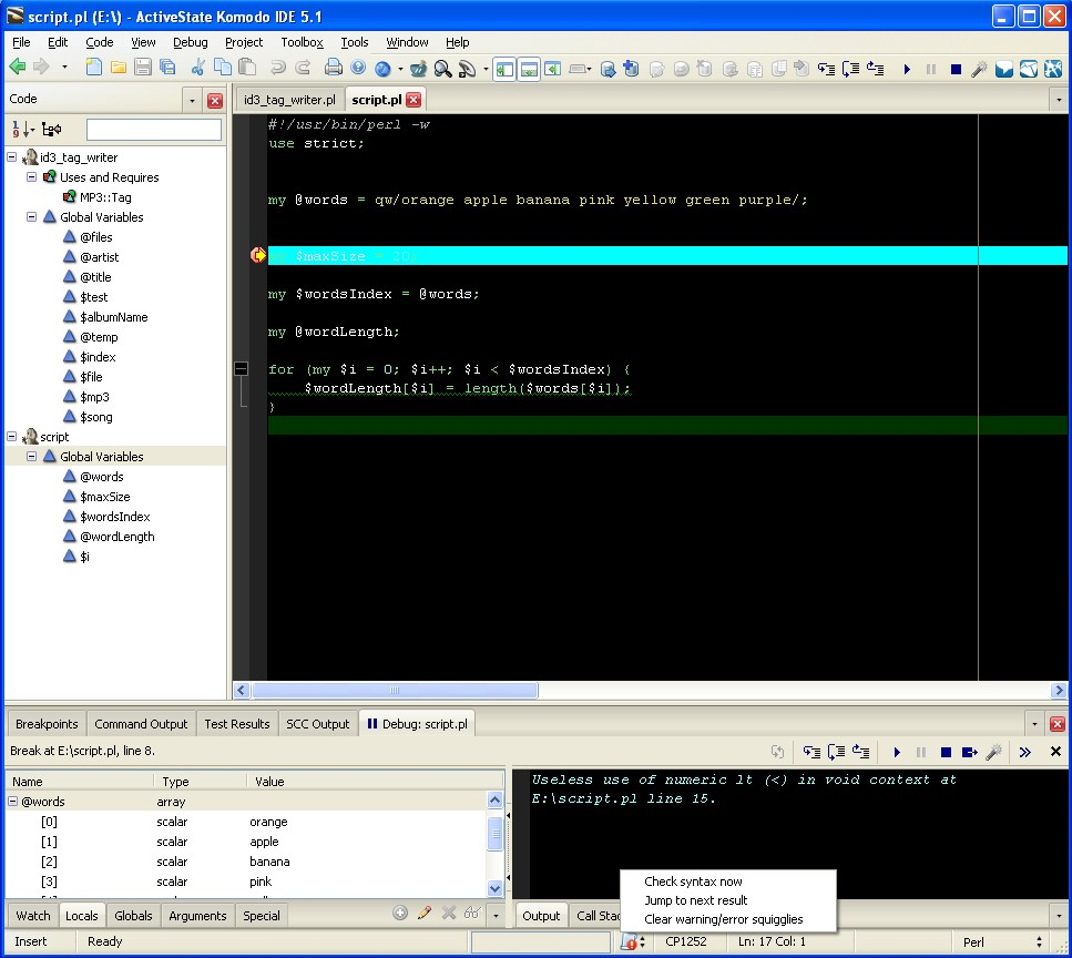 Main Window showing debugger and variable viewers