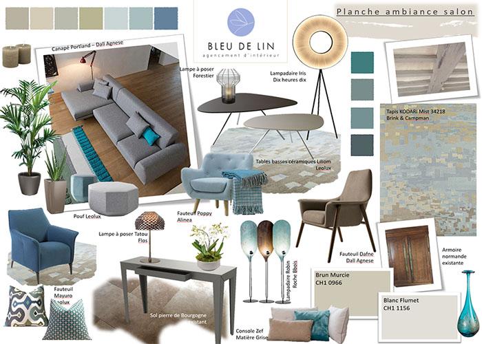 Salon contemporain tons Bleu