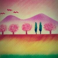 パステル和アート『土手の桜』