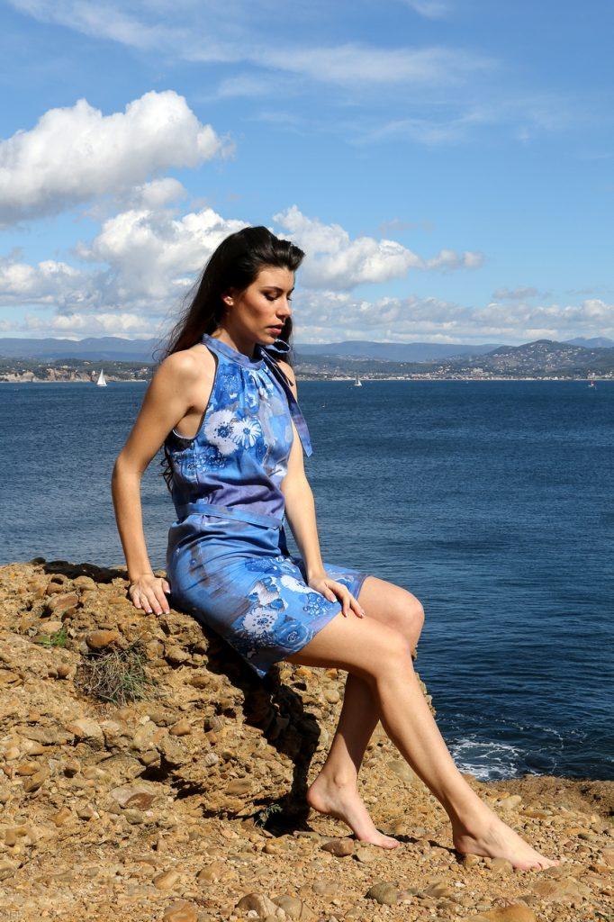 Robe d'été en tissu japonais bleu ciel Bleu Liseron