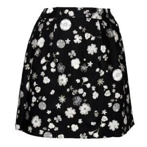 Jupe corolle noire à fleurs blanches Floral Impressions