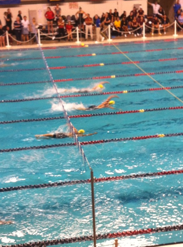 Olympic swimmers competing at the PAC 12s.