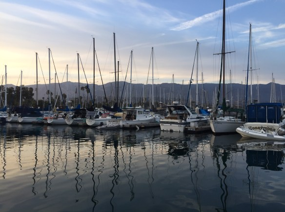 Reflections during sunset at the Santa Barbara marina.