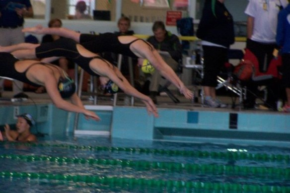 My daughter diving in a competition with her club team at the East LA City College pool.