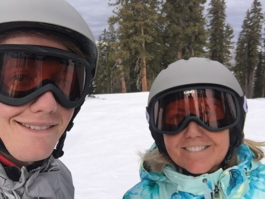 mother and son ski selfie