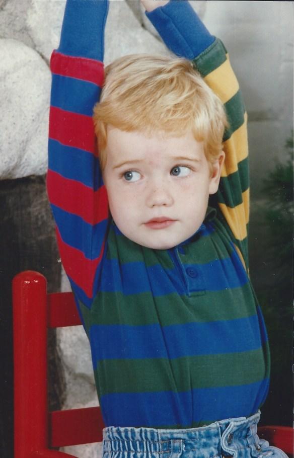 Three year old blond son