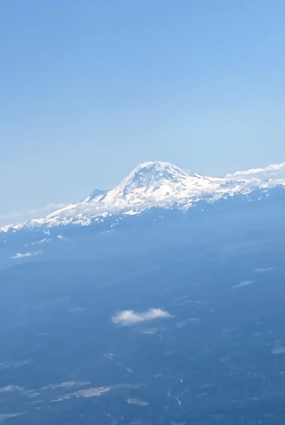 Mt. Rainier view from plane
