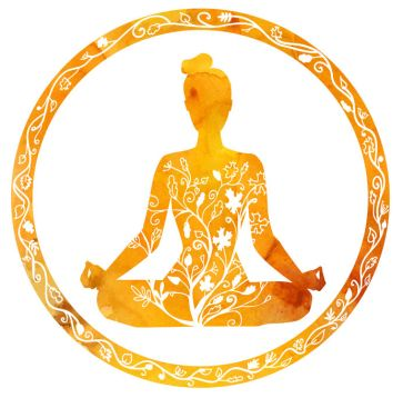 44740099 - vector silhouette of yoga woman in circle frame with bright orange texture and floral ornament. autumn colors and tree leaves decoration. lotus pose - padmasana.