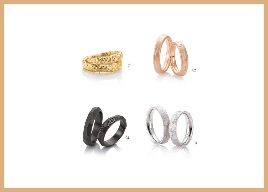 Marion Knorr zeigt Trauringmodelle aus TANTAL und SOLITAIRE-Ringe im Boho-Style sowie Vintage-Look, die mit naturfarbenen Brillanten besetzt sind.