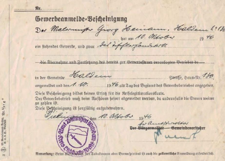 75_Jahre_Ladenbau_Hemann_Gewerbeschein