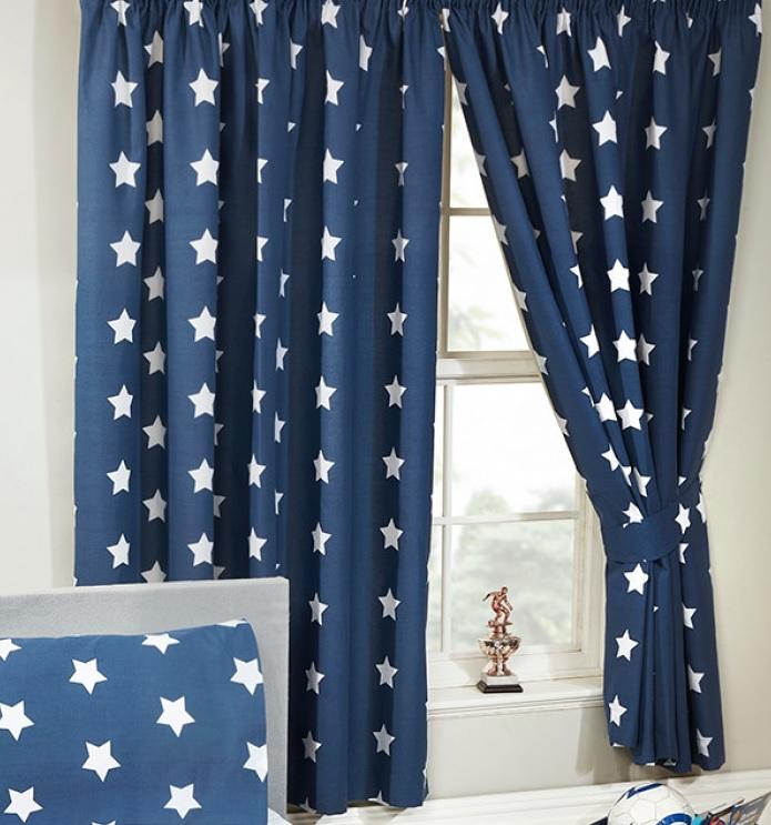 Gordijnen blauw met witte sterrensterretjes 168 cm breed
