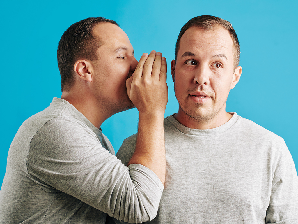 Horizontal chest up portrait of young adult man telling his secret to his twin brother, blue background