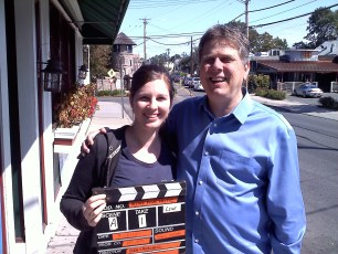 "Sept. 18, 2011 - Tommy Edison with Katie St. Pierre after filming ""How Blind People Use Paper Money"""