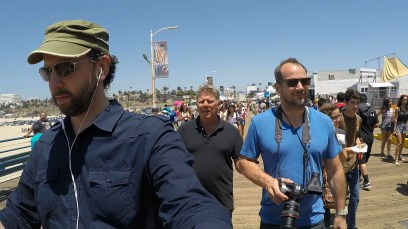 July 27, 2015 - Ben Churchill, Tommy Edison, and Erik Stone on The Santa Monica Pier before filming the 'Roller Coaster' video