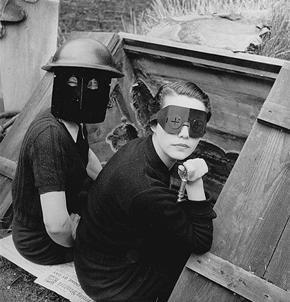 Lee Miller photographed women in fire masks in wartime London in 1944.