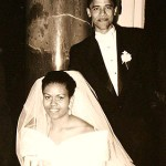 Michelle and Barack Obama on their wedding day October 3, 1992
