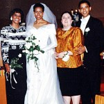 Barack and Michelle Obama with their mothers on their wedding day October 3, 1992