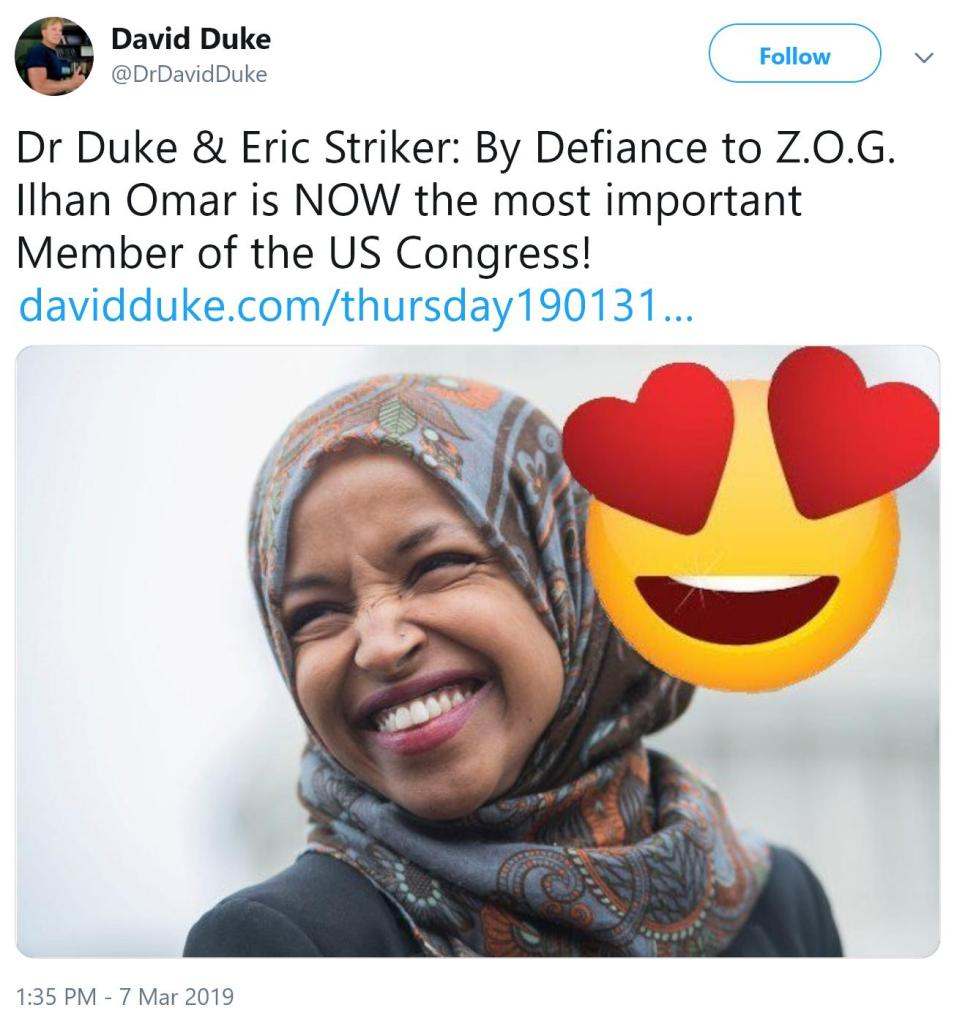 "In response to statements revealing Omar's antisemitism, David Duke calles MN Rep Ilhan Omar the ""Most important rep in Congress"""