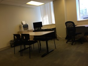 Our office has two workstations and a small conference table. We also have a Braille embosser, fully accessible computers and Braille displays and other equipment.