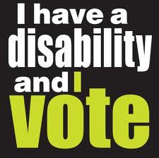 """I have a disability and I vote"" graphic."