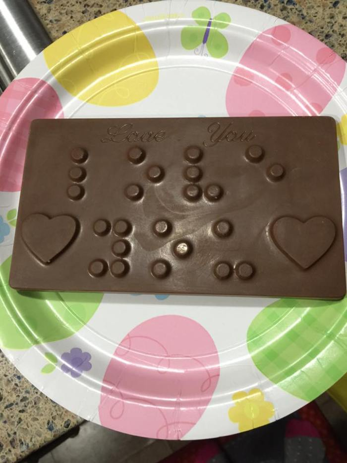 Chocolate Braille Bars are the perfect gift for someone with blindness or vision loss.