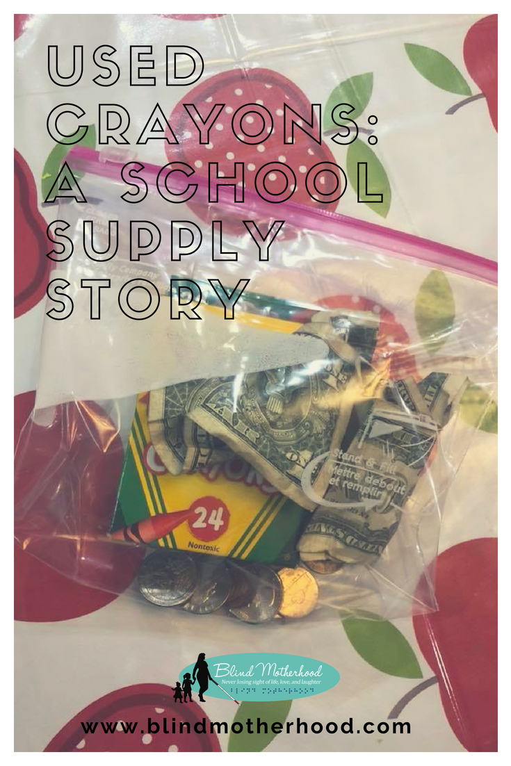 ID: A ziploc bag with crumpled dollar bills, coins, and used crayons.