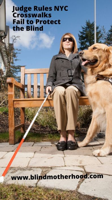 Blind woman sitting on bench holding cane and golden retriever guide dog at her feet in harness.