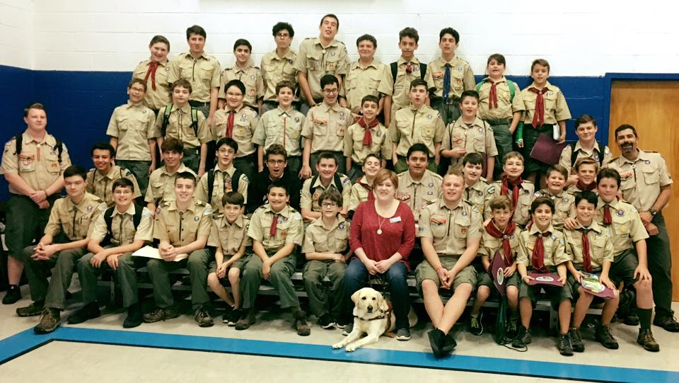 Holly & Frances speak to a group of Boy Scouts about the VIEP Program.