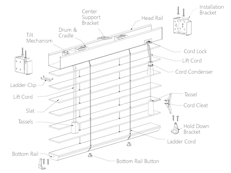 Wood Faux Blind Repair Parts