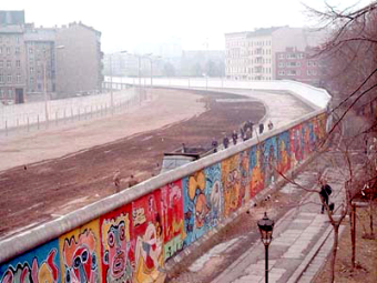 """No Man's Land"" on the Berlin Wall, which seperated East Berlin from West Berlin from 1961 to 1989; 136 East Germans lost their lives trying to cross"