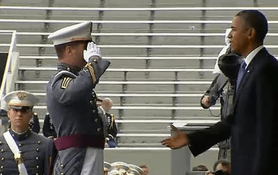 West Point Cadet Holds Salute Waiting for Commander-in-Chief to Return One; Gets a Handshake Instead!